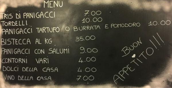 ristorante il panigaccio menu prezzi