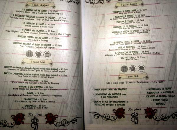 ristorante re artù menù