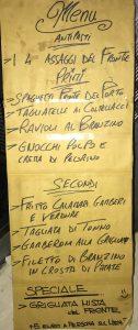 Fronte del Porto: menu