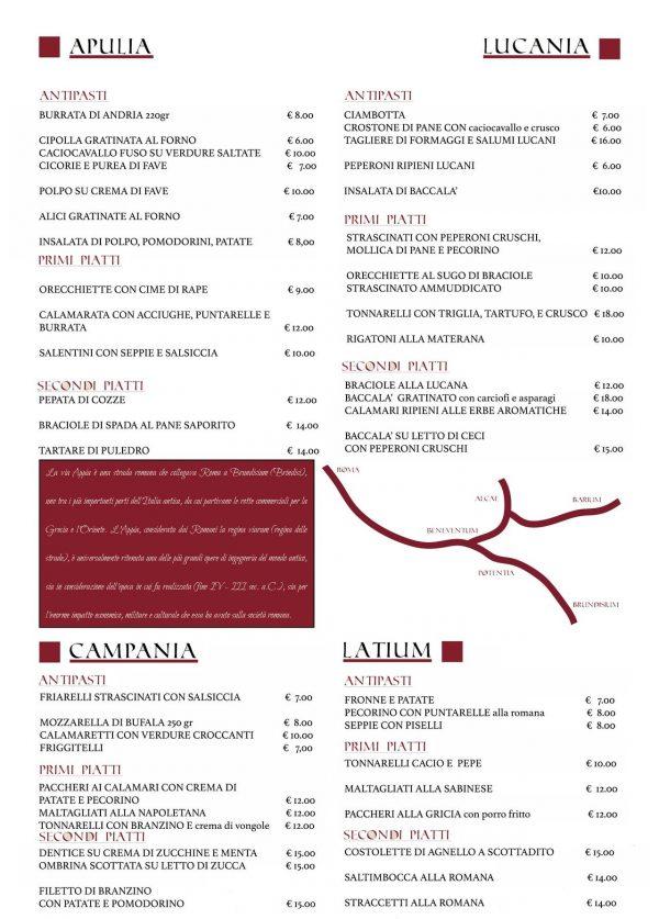 menu osteria